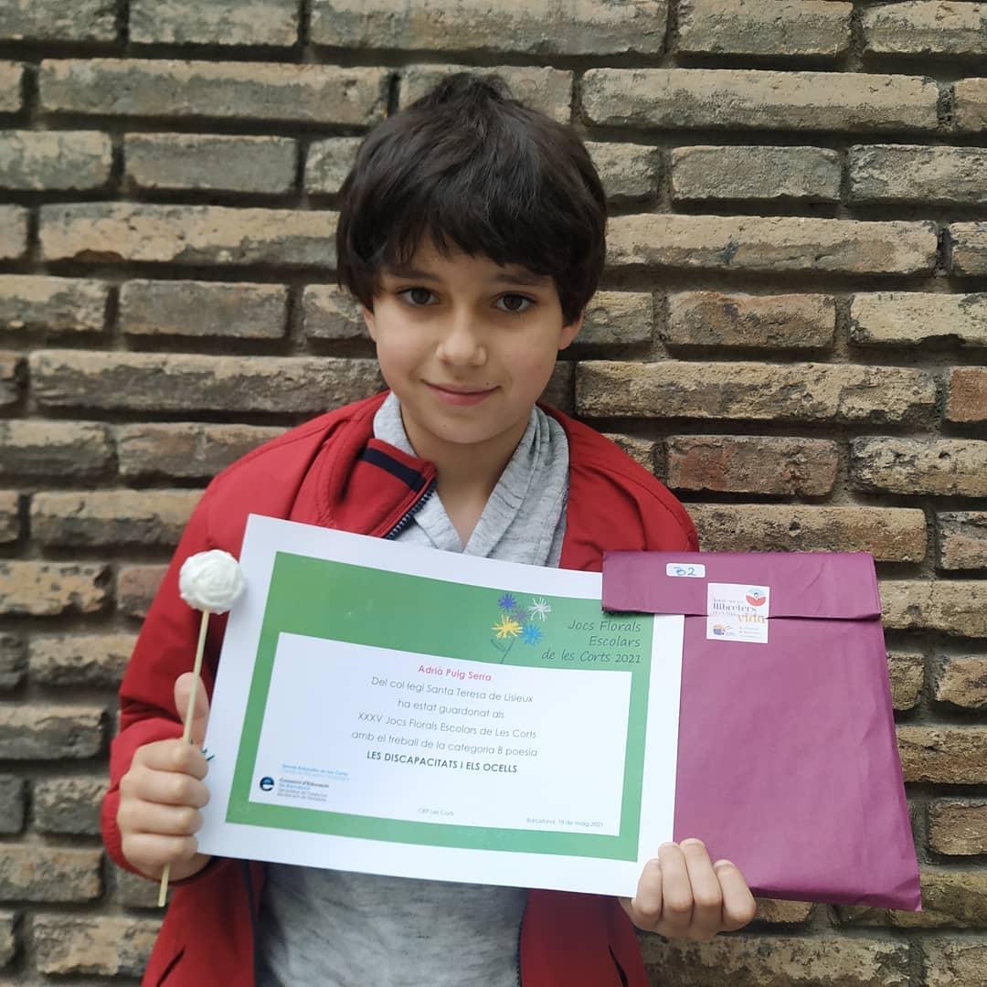 Adrià Puig Parra, guanyador als Jocs Florals Escolars de Les Corts